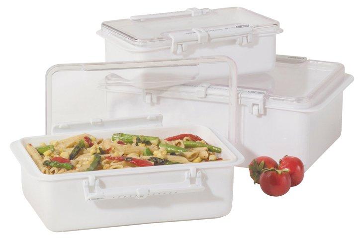 3-Pc Snap N Seal Storage Set, White