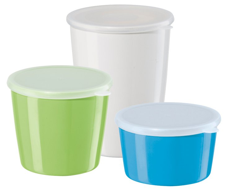 3-Pc Melamine Storage Jars w/PP Lids