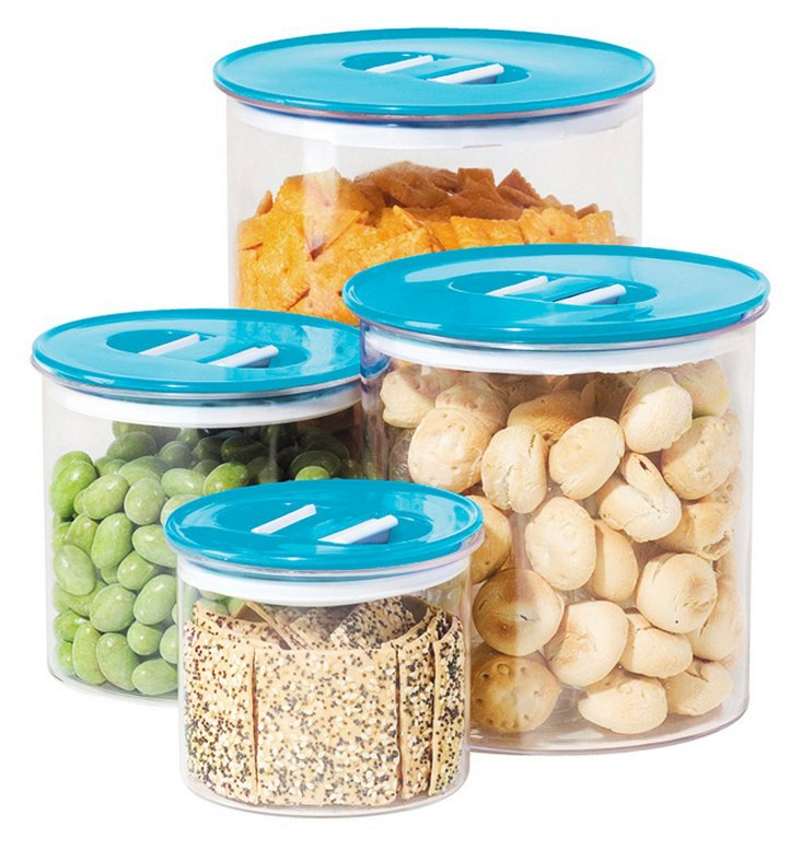 4-Pc Stack N' Store Canister Set, Blue