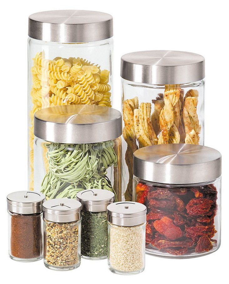 8-Pc Round Glass Canister Set