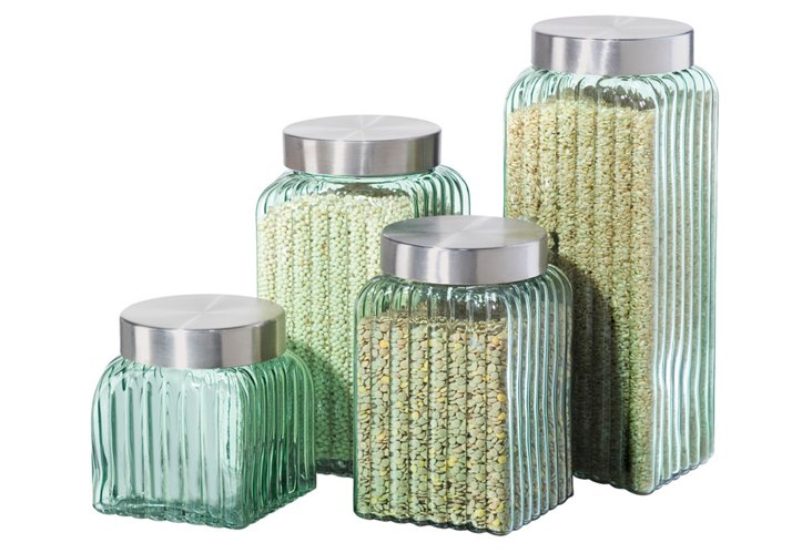 4-Pc Ribbed Square Glass Canister, Green
