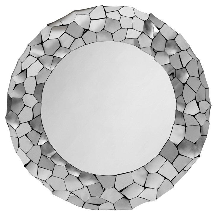 Miriam Round Mirror, Silver