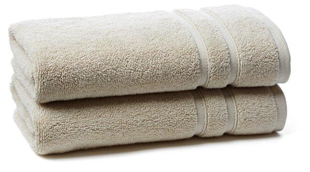 S/2 Solid Dobby Hand Towels, Khaki
