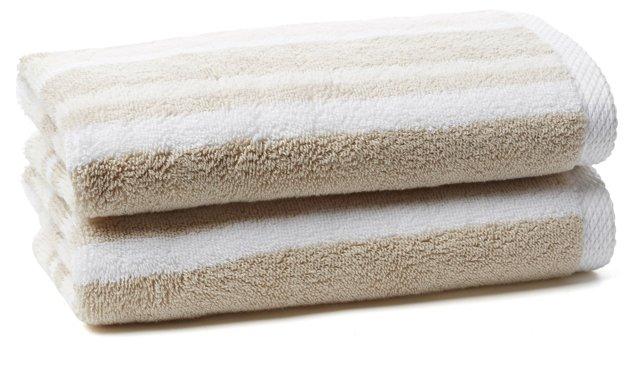 S/2 Stripe Hand Towels, Prairie