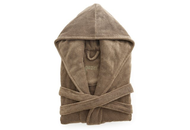 Women's Organic Short Hooded Robe, Khaki