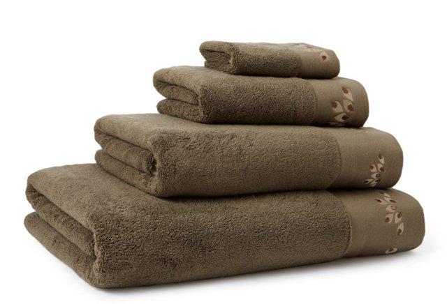 4-Pc Organic Oya Towel Set, Khaki