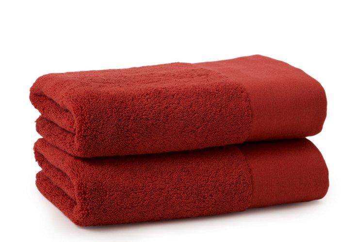 S/2 Organic Hand Towels, Rust