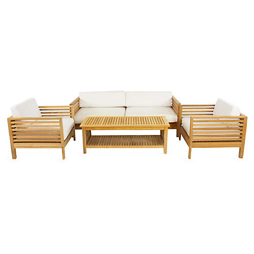 Summer 4-Pc Teak Sofa Set, Natural
