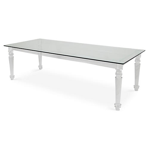 "Beverly Hills 84"" Acrylic-Leg Dining Table, Clear"