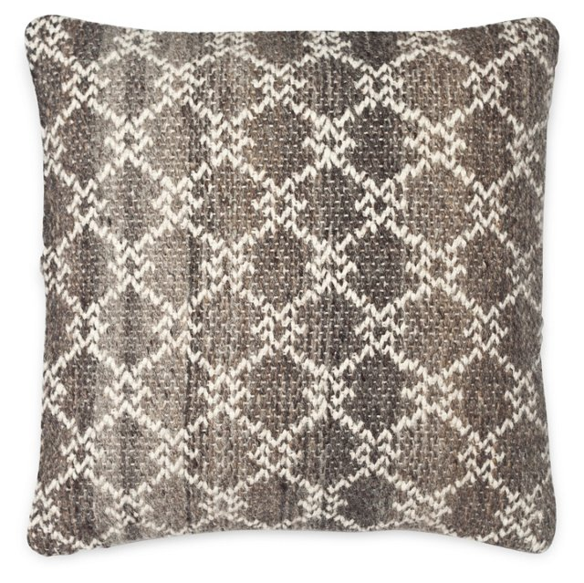 Diamond 20x20 Wool-Blended Pillow, Brown