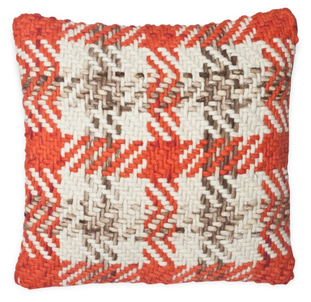 Plaid 20x20 Cotton-Blended Pillow, Red