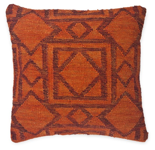Kilim 20x20 Cotton-Blended Pillow, Red