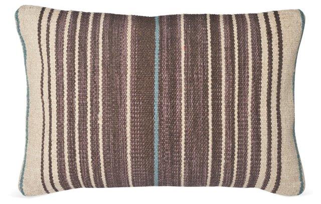 Stripe 14x22 Wool-Blended Pillow, Brown