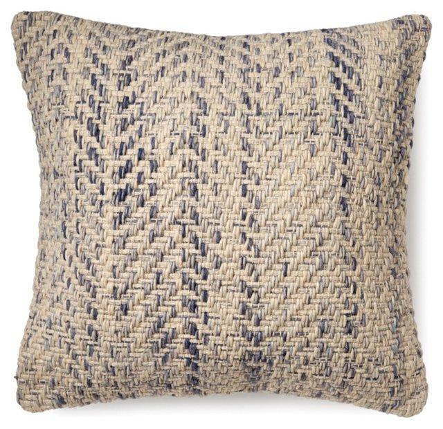 Chevron 20x20 Wool-Blend Pillow, Beige