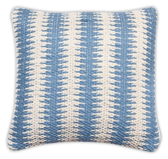 Zigzag 20x20 Wool-Blended Pillow, Blue