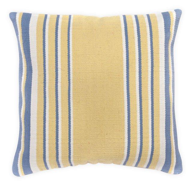 Stripes 20x20 Cotton Pillow, Yellow