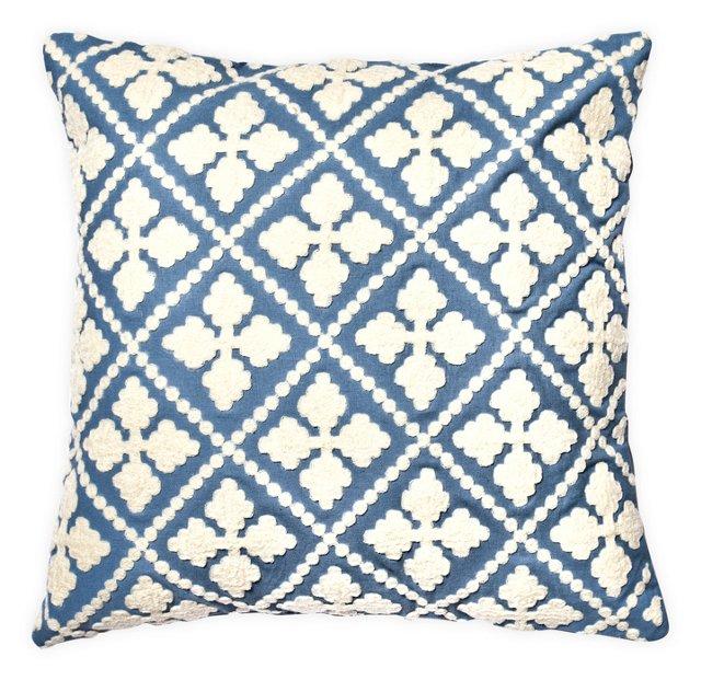 Quatre 20x20 Cotton-Blended Pillow, Blue