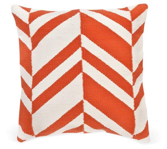 Variegated 20x20 Cotton Pillow, Orange