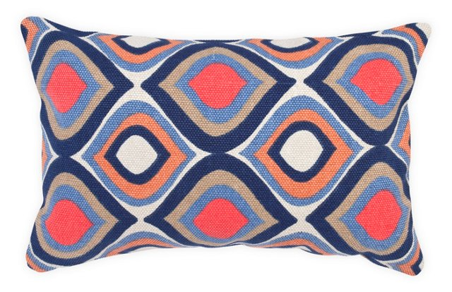 Peacock 14x22 Cotton Pillow, Multi