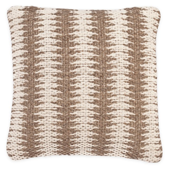 Zigzag 20x20 Wool-Blended Pillow, Camel