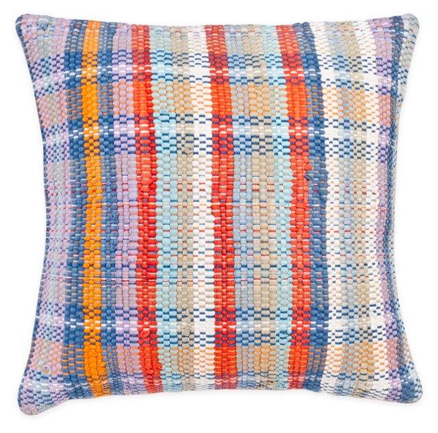Plaid 18x18 Cotton Pillow, Multi