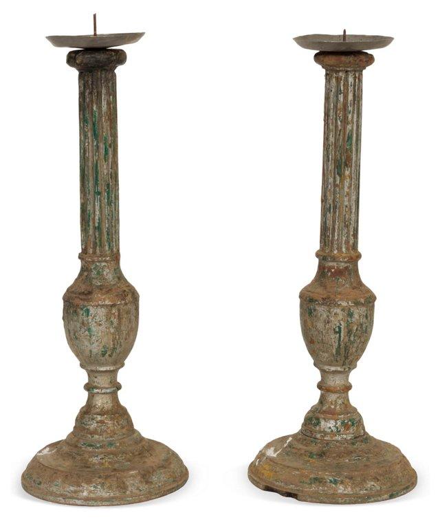 Wood Candlesticks, Pair