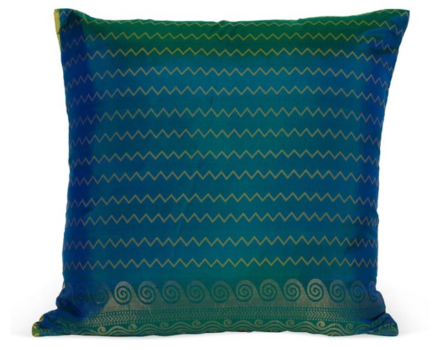 Blue/Green/Yellow Zigzag Pillow I