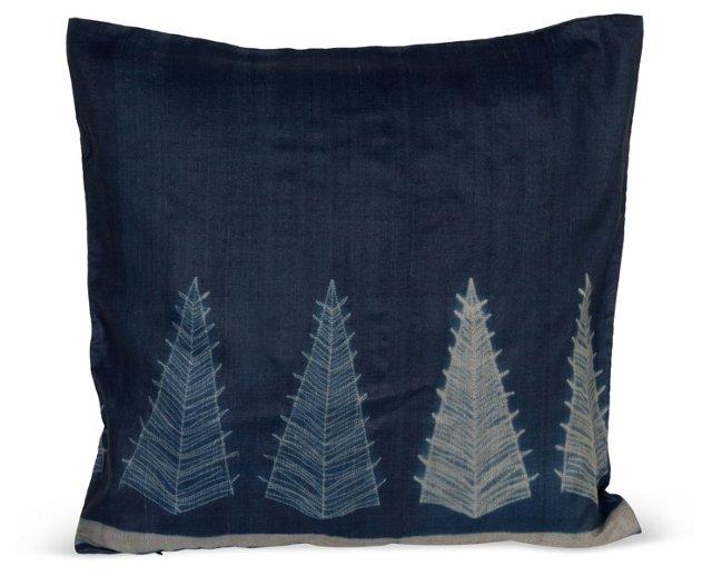Blue & Gray Small Tree Pillow I