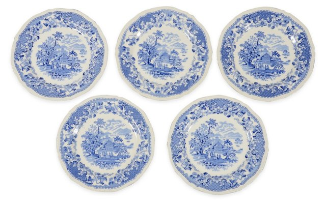 Blue & White Dinner Plates, Set of 5