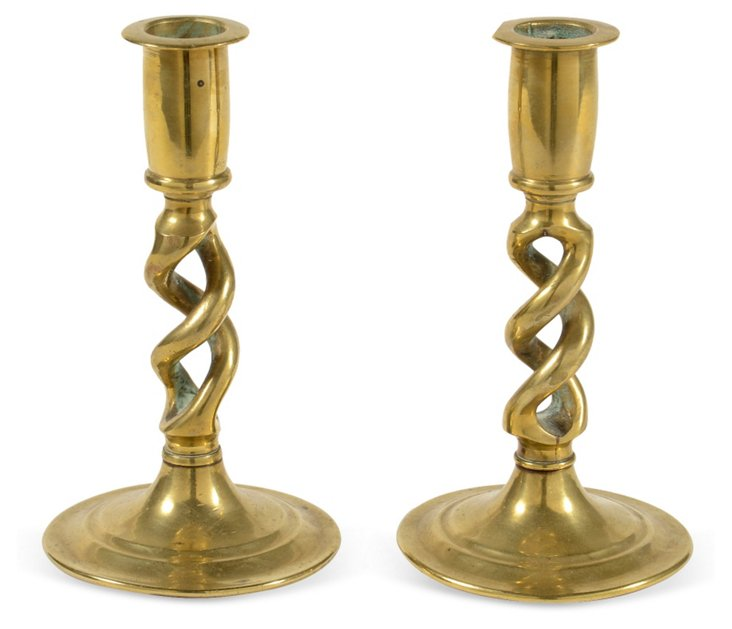 Short Twisted Brass Candlesticks, Pair