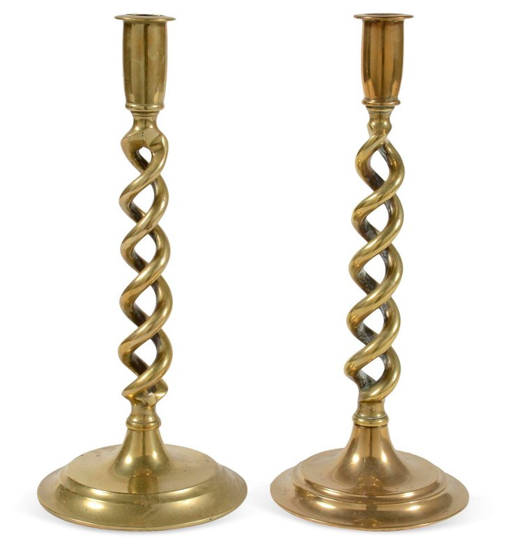 Tall Twisted Brass Candlesticks, Pair I