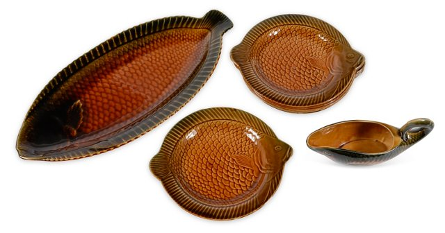 Sarreguemines Majolica Fish Set, 8 Pcs.