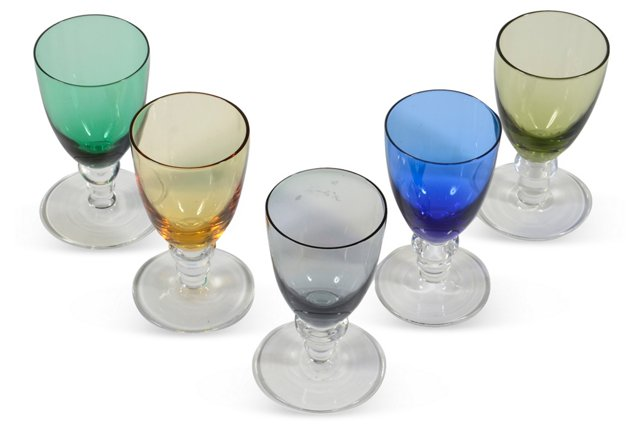 1970s Cordial Glasses, Set of 5