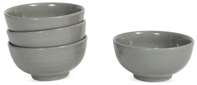 S/4 Petite Ceramic Bowls, Gray
