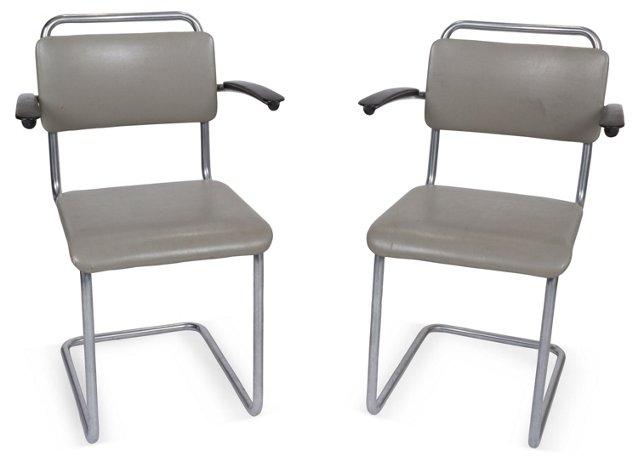 Gray Armchairs, Pair