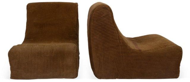 1970s Brown Slipper Chairs, Pair