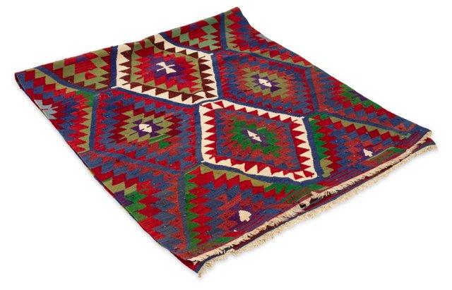 Turkish Wool Rug w/ Blue, 8.75' x 3.5'