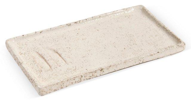 White Wheeled Ceramic Tray