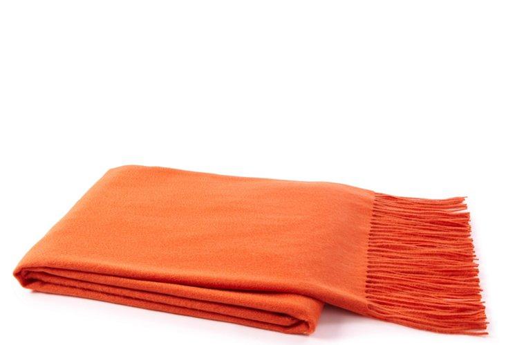 Fringed Cashmere Throw, Orange