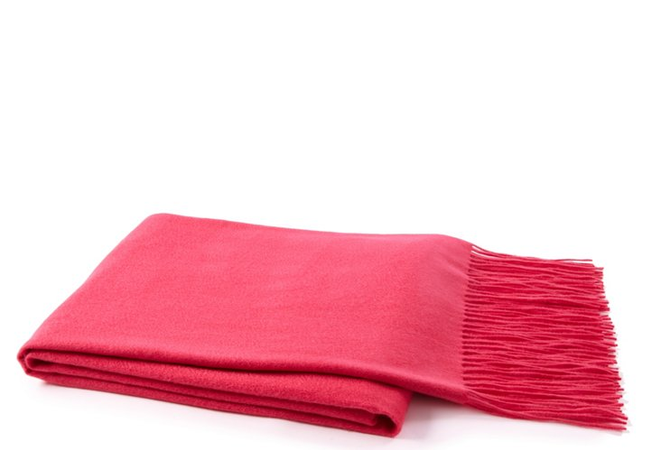 Fringed Cashmere Throw, Pink