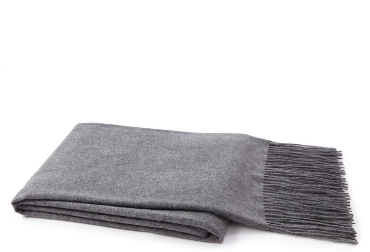 Fringed Cashmere Throw, Heather Gray