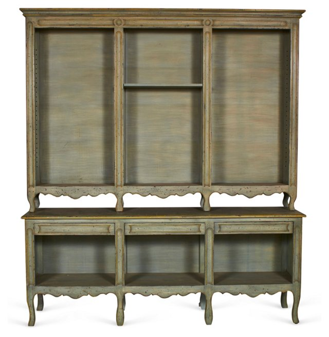 French Country-Style Open Hutch, 2 Pcs