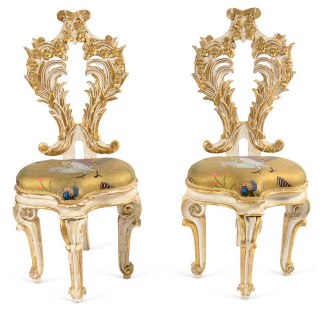 Gilt Chairs w/ Painted Seats, Pair