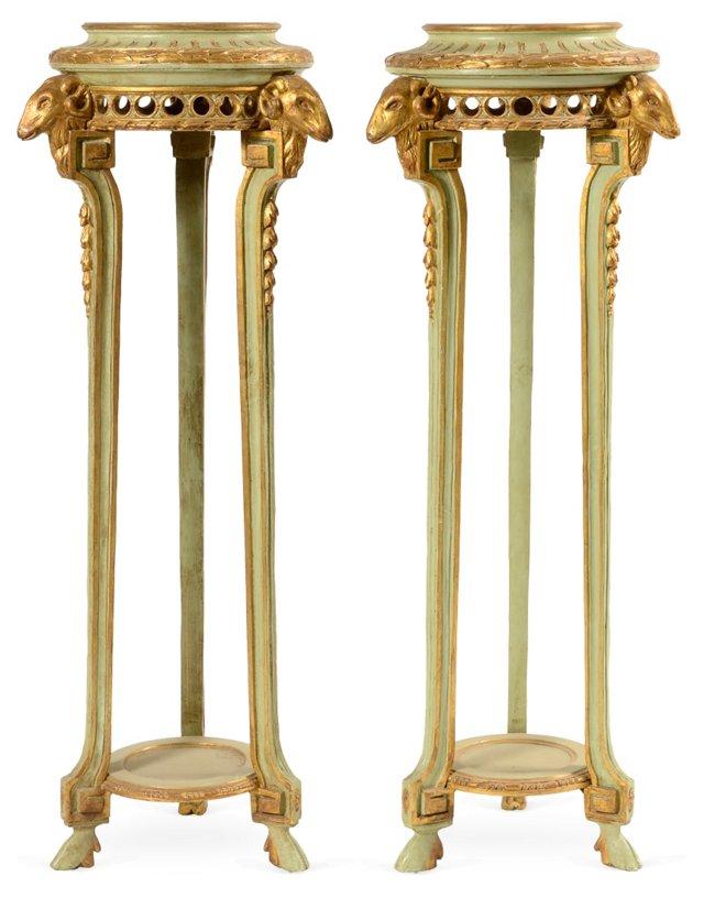 Green Gilt Ram's-Head Pedestals, Pair
