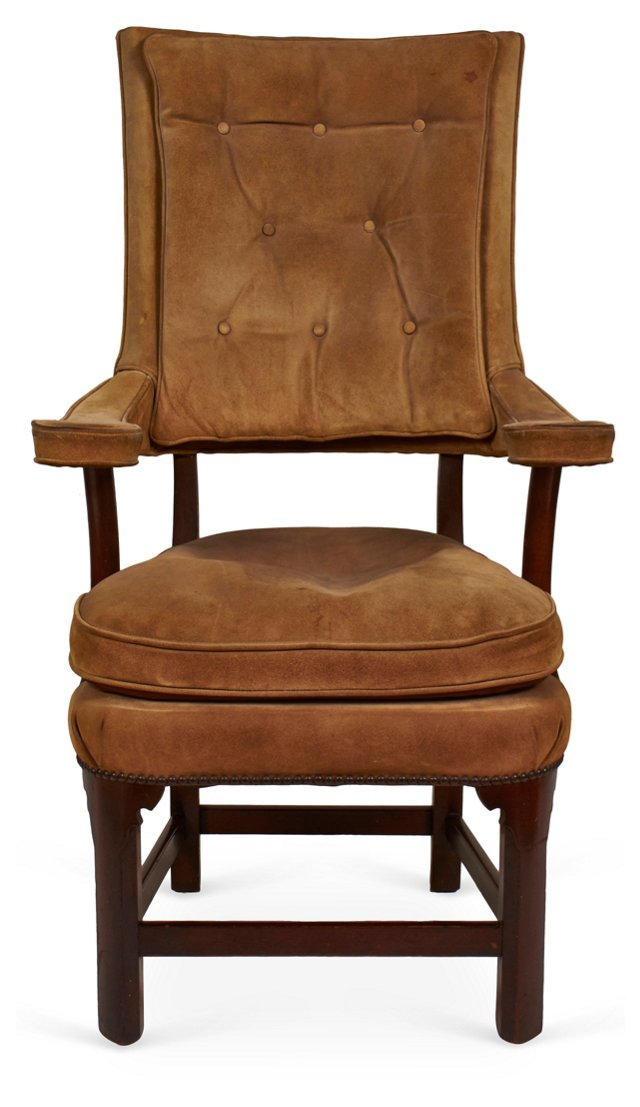 High-Back Suede Chair