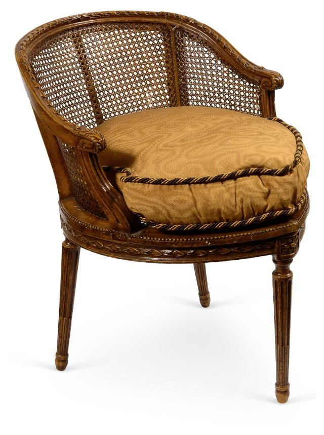 Antique Barrel-Back Caned Chair