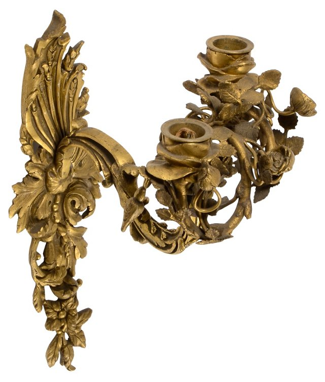 Bronze Sconce w/ 2 Candleholders