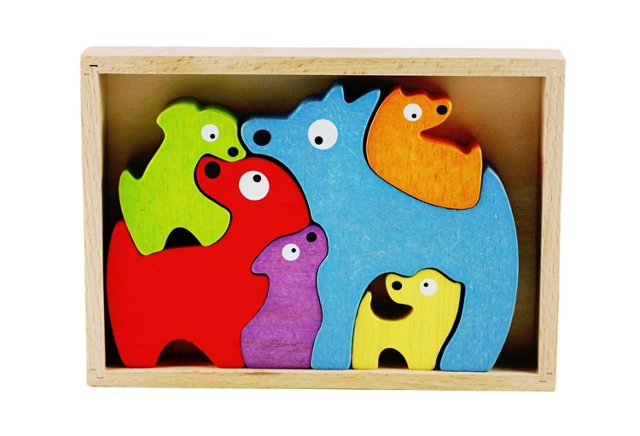 Rubberwood Dog Family Stencil & Puzzle