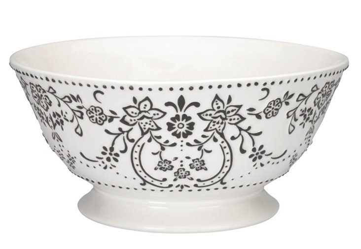 Footed Bowl, White/Black