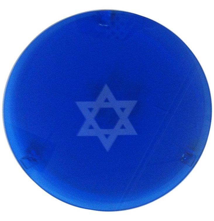 Star of David Round Cake Plate, Blue